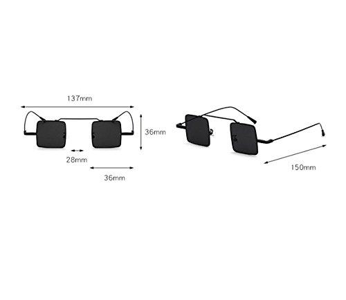 soleil classique lunettes cadre de Rétro métal Hellomiko en Hippy Square Punk Argent petit SxBZwqf