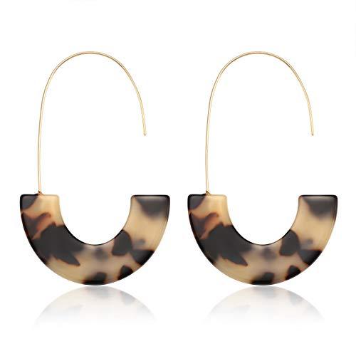 YINL Acrylic Hoop Earrings Statement Geometric Wire Resin Drop Earrings Tortoise Shell Mottled Lightweight Dangle Earrings Fashion ()
