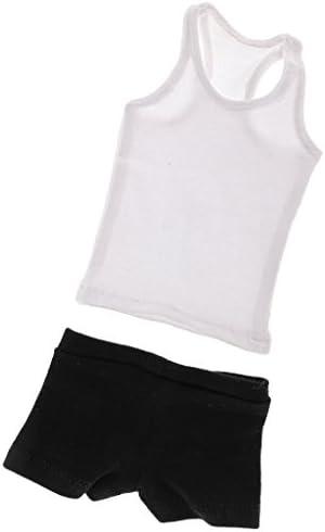 【ノーブランド品】  1/6スケール  白いベスト &黒い下着 服 12インチ 男性アクションフィギュアボディ用