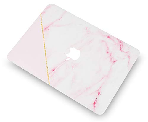 """KECC Laptop Case for MacBook Pro 13"""" (2020) w/Keyboard Cover Plastic Hard Shell A2338 M1 A2289 A2251 Touch Bar + Screen Protector 3 in 1 Bundle (Pink Marble with Gold Stripe)"""
