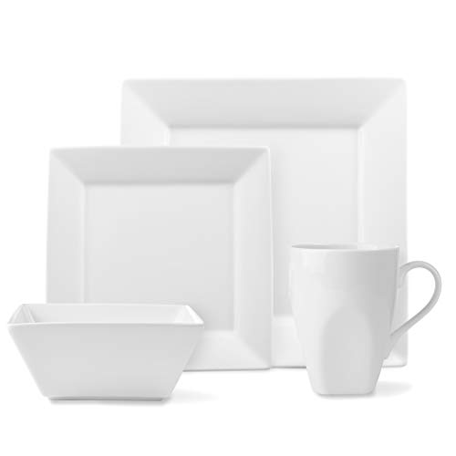 - ROSCHER Dinnerware Dish Set (16-Piece) White, Ceramic Square Dishes Dinner and Salad Plates, Appetizer Bowls, Drink Mugs Modern Kitchen Style Dishwasher Safe