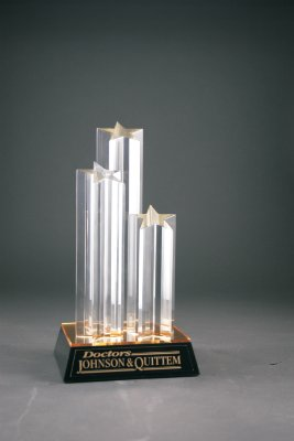 11 3/4'' Clear Double Star Column Acrylic Award with Gold/Black Base FREE CUSTOM ENGRAVING