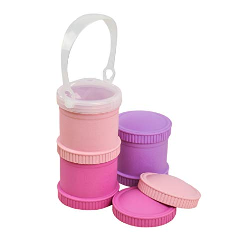 Re-Play Made in The USA 7 Piece Stackable Food and Snack Storage Containers for Babies, Toddlers and Kids of All Ages - Bright Pink, Blush, Purple (Princess) by Re-Play