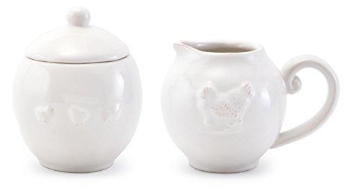 White Glazed Chicken-Motif Ceramic Sugar & Creamer Set, 3