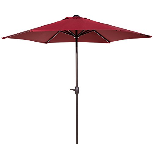 et Outdoor Aluminum Table Patio Umbrella with Push Button Tilt and Crank, Red ()