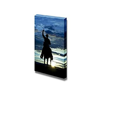 Canvas Prints Wall Art - A Cowboy Riding Forward in The Sunset with a Rope Above His Head | Modern Wall Decor/Home Decoration Stretched Gallery Canvas Wrap Giclee Print & Ready to Hang - 48