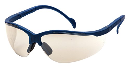 Pyramex Venture Ii Safety Eyewear, Indoor/Outdoor Mirror Lens With Metallic Blue - Blue Frame With Mirror