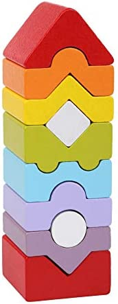 Wise Elk Tower Stacking Blocks, Building Blocks for Toddlers 1-3 Year, Includes 10 Colored Building Blocks, Wo