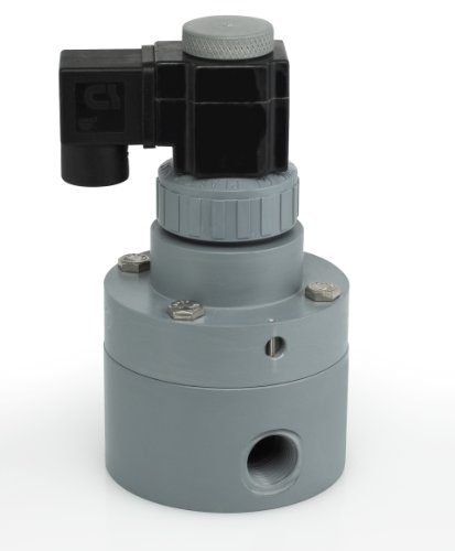 "Plast-O-Matic PS Series Polypropylene Pilot Solenoid Valve, For Acids and Highly Corrosive Liquids, 2 Ways, Normally Closed, EPDM Diaphragm, 9.5 Cv factor, 1"" NPT Female from Plast-O-Matic"