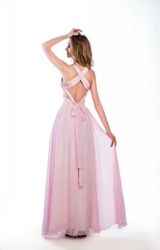Lunga Dreamdress Prom Partito Delle Donne Vestiti Misura Dei Perline Su Abito Rosa dq80d