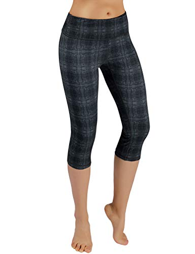 ODODOS Printed Workout Capris,Tummy Control Non See-Through Athletic Active Yoga Capris with Pocket,LinearTribal,Small