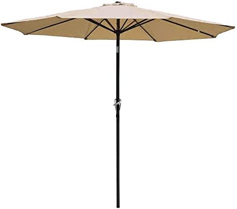 FDW Patio Umbrella Red 9' Aluminum Patio Market Umbrella Tilt W/Crank Outdoor New