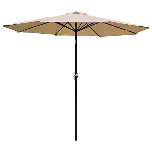 Patio Umbrella Red 9' Aluminum Patio Market Umbrella Tilt W/ Crank Outdoor New