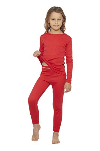 (Rocky Girls Fleece Lined Thermal 2PC Underwear Set Top and Bottom (L, Red))