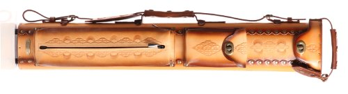 Instroke 3 Butt 7 Shaft Saddle Leather Cue Case Brown Air Brushed D03