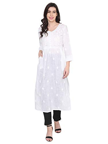House Of Kari Premium Soft Cotton Long Quarter Sleeve Round Neck Hand Embroidery Dress for Women | Stylish Casual | Office wear | Fancy | White