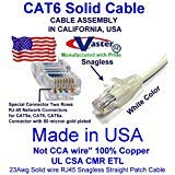 UL CSA CMR ETL Cat6 Patch Cable Not CCA wire 100/% Copper 23Awg Solid wire RJ45 Snagless Straight Patch Cable Made in USA Vaster SKU -81973-14 Ft GREEN 20 Pcs // Pack