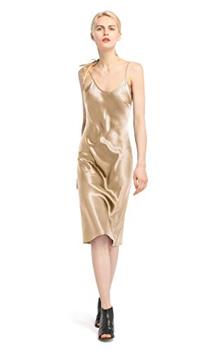 LilySilk Silk Cami Dress for Women Fitted Sexy Evening Pure Natural 100 Silk Charmeuse 22MM Long Light Camel XS/0-2 ()