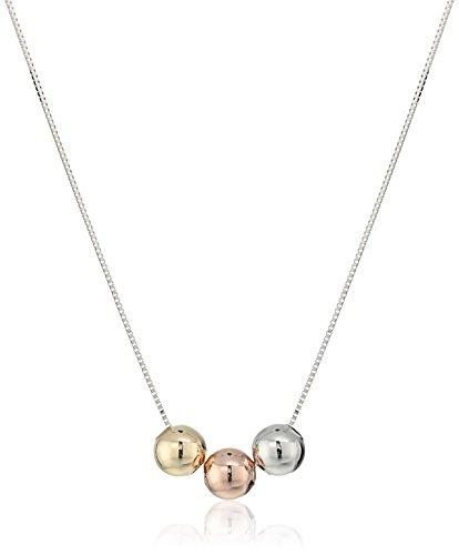 14k-Italian-White-Gold-Three-Spherical-Balls-Adjustable-Necklace-16-2-Extender