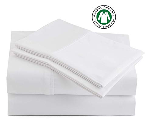 100% Organic Cotton Pure White Queen-Sheets Set, 4-Piece Pure Organic Cotton Percale Weave Ultra Soft Best - Bedding Sheets for Bed, Breathable, GOTS Certified, Fits Mattress Upto 17