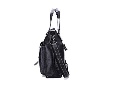 JOYIR - Bolso bandolera  Hombre Litchi peel black Size:32L x 42H x 10D inch Litchi peel black