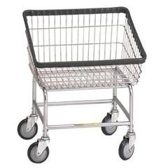 R&B Wire 100T Front Loading Wire Frame Metal Laundry Cart - Chrome