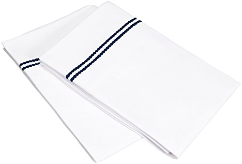 100% Brushed Microfiber, King, Wrinkle Resistant, 2-Piece Pillowcase Set, White with Navy Blue 2-Line Embroidery Detail