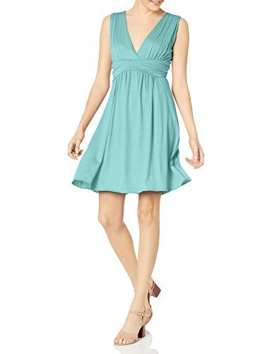 Star Vixen Women's Petite Sleeveless Empire Waist Summer Sun Dress, Blue Aqua, Medium