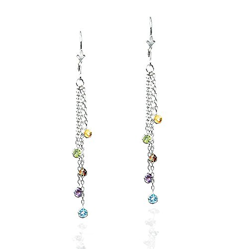 14k White Gold Chandelier Earrings with Round Gemstone Stations ()