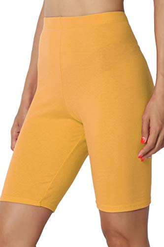 TheMogan Women's Mid Thigh Cotton High Waist Active Short Leggings Mustard M (Yellow Stretch Shorts)