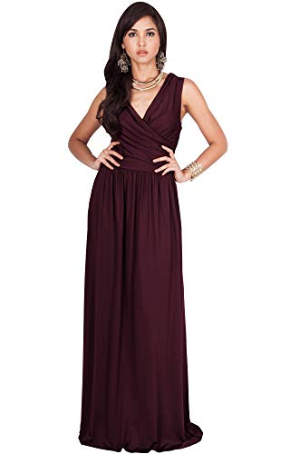 KOH KOH Petite Womens Long Sleeveless Sexy Summer Semi Formal Bridesmaid Wedding Guest Evening Sundress Sundresses Flowy Gown Gowns Maxi Dress Dresses, Maroon Wine Red XS 2-4