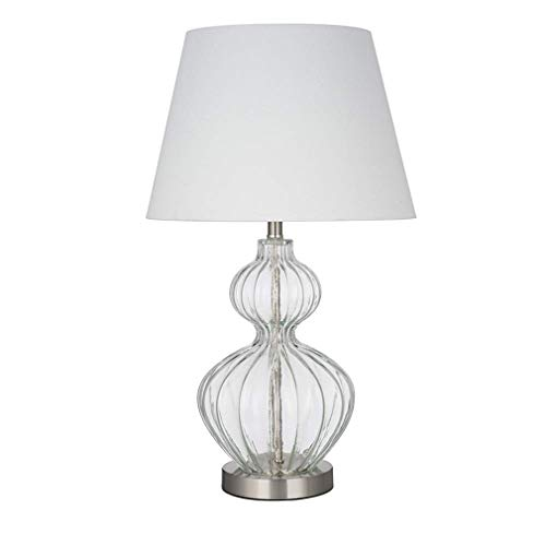 Ravenna Home Modern Clear Glass Table Lamp With LED Light Bulb -14 x 14 x 23.75 Inches, Brushed Nickel ()