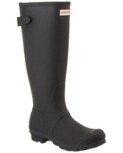Hunter Womens Original Back Adjustable Black Rain Boot - 8 (Womens Wide Calf Hunter Boots)