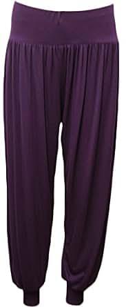 Nauvelle Women's Harem Ali Baba Full Length Yoga Trousers 12/14 Purple
