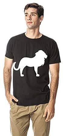 Standing lion animal cotton round neck tshirt, Black XL