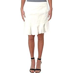 Aqua Womens Jean Ruffled Denim Skirt