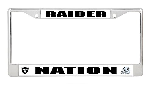 Rico Industries, Inc. Oakland Raiders RAIDER NATION Chrome Frame Metal License Plate Tag Cover Football ()