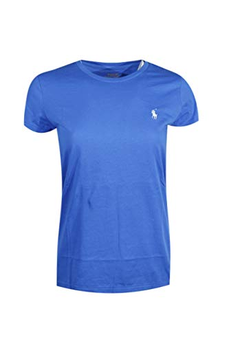 Ralph Lauren Polo Womens Crewneck Pony Logo Tee (X-Large, Blue (White Pony))