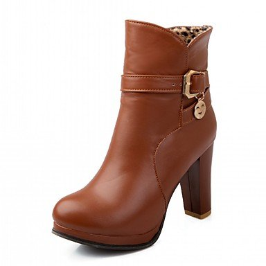 RTRY Zapatos De Mujer De Piel Sintética Pu Novedad Moda Otoño Invierno Confort Botas Botas Chunky Talón Puntera Redonda Botines/Botines Hebilla Parte &Amp; US10.5 / EU42 / UK8.5 / CN43