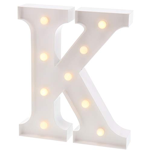 "Barnyard Designs Metal Marquee Letter K Light Up Wall Initial Wedding, Bar, Home and Nursery Letter Decoration 12"" (White) ()"