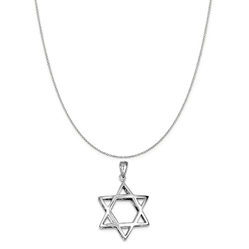 Sterling Silver Puffed Star Of David Pendant on a Sterling Silver Cable Chain Necklace, 20
