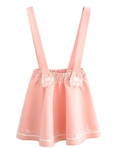 Hotmiss Women's Sweet Cat Paw Embroidery Pleated Mini Skirt with 2 Suspender Pink