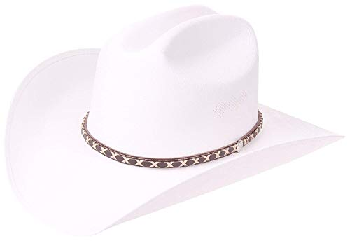 (Western Style Pinch Front Straw Canvas Cowboy Cowgirl Straw Hat White)