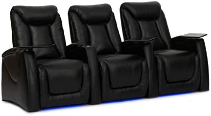 HT Design Somerset Home Theater Seating Row of 3 Power Recline Top Grain Black Leather LED Package