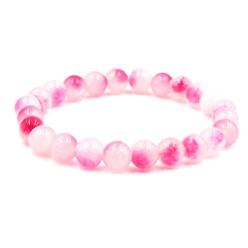 Cat Rose Stone Healing (BaiYunPOY 8mm Handmade Charm Prayer Beaded Yoga Bracelet for Men Women - Natural Energy Beads Bracelet Healing Bangle - Rose Agate)