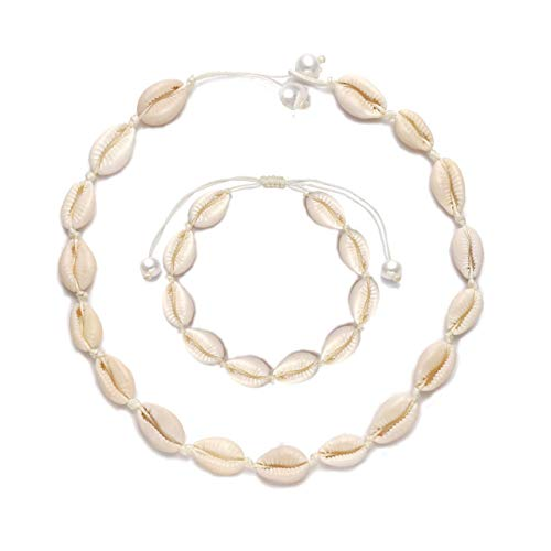 Shell Choker Necklace Cowrie Shell Pearls Choker Necklace Boho Hawaii Seashell Pearl Anklet Bracelet Handmade Adjustable Beach Jewelry Set for Women Children (3-Pearl Shell & Anklet Set)