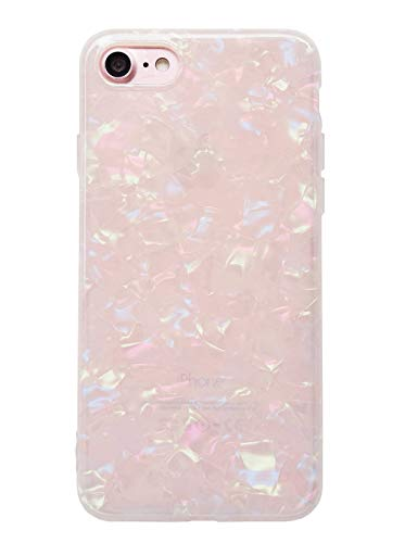 YeLoveHaw iPhone 7 / iPhone 8 Cute Case for Girls, Glitter Pearly-Lustre Translucent Shell Pattern Phone Case [Flexible Soft, Slim Fit, Full Protective] for iPhone 7/8 4.7 Inch (Colorful)