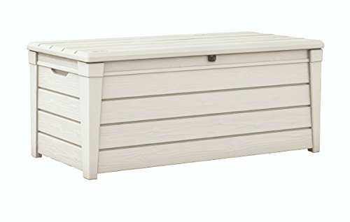 Keter Brightwood 120 Gallon Outdoor Garden Resin Patio Storage Furniture Deck Box