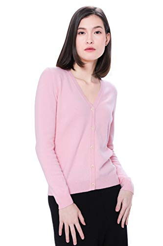 Goyo Cashmere Women's 100% Pure Cashmere Cardigan - Button Down V-Neck Cardigan (Baby Pink, XL)