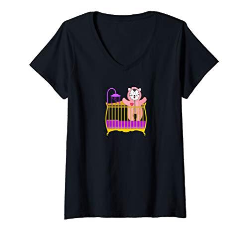 Womens Baby White Tiger in Crib ABDL Age Play V-Neck T-Shirt -  NaughtyBoyz ABDL, Pup & Fetish Lifestyle T Shirts
